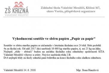Vyhodnocení soutěže ve sběru papíru - Papír za papír